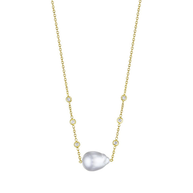 Penny Preville 18k Yellow Gold Diamond and South Sea Pearl Necklace