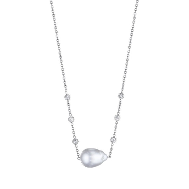 Penny Preville 18k White Gold South Sea Pearl and Diamond Necklace