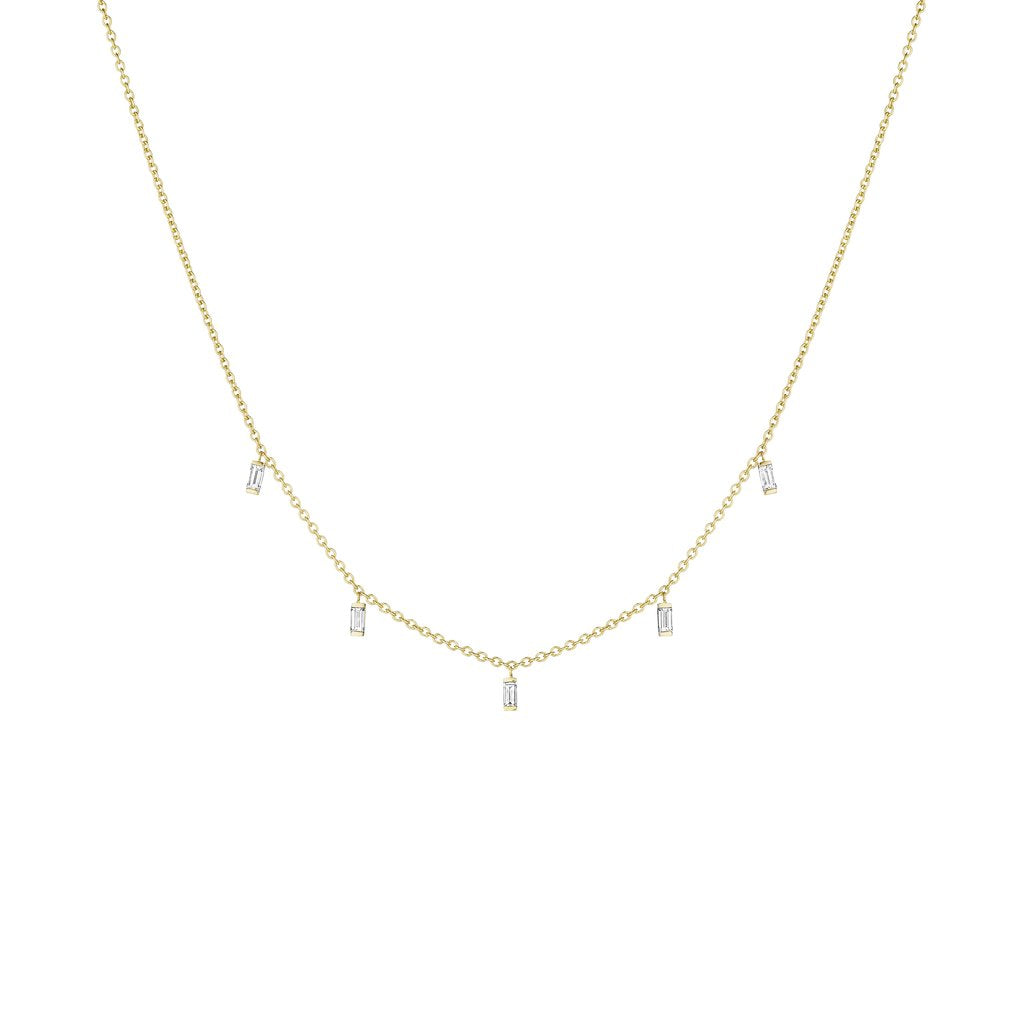 Penny Preville 18kt Yellow Gold Baguette Drop Diamond Necklace