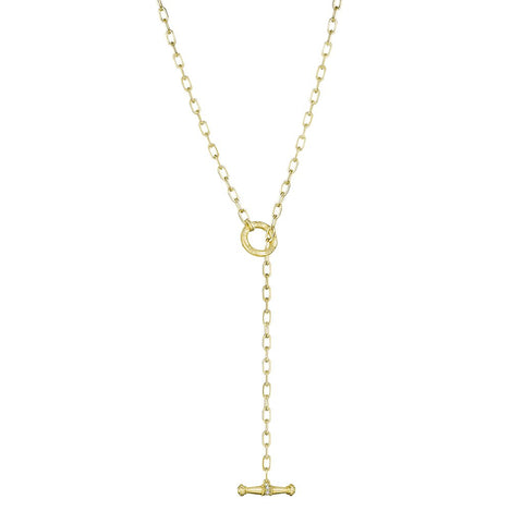Penny Preville 18k Yellow Gold Flat Link Toggle Necklace