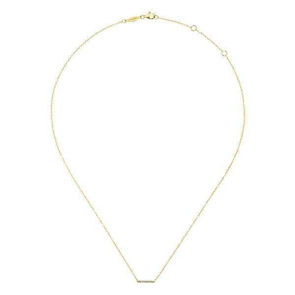 14k Yellow Gold Bar Diamond Necklace