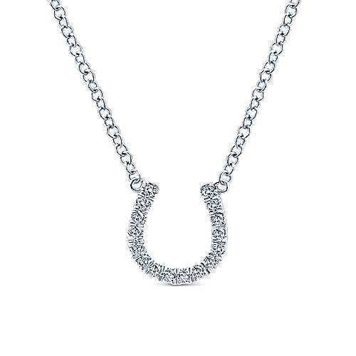 14k White Gold Diamond Horsehoe Necklace