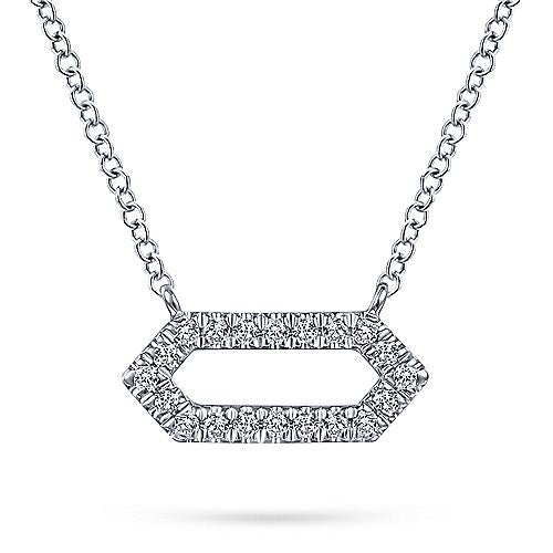 14kt White Gold Elongated Hexagon Necklace