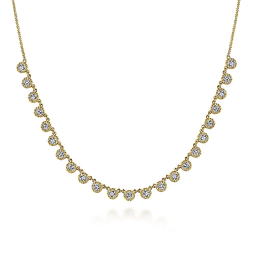 14kt Yellow Gold Round Diamond Necklace