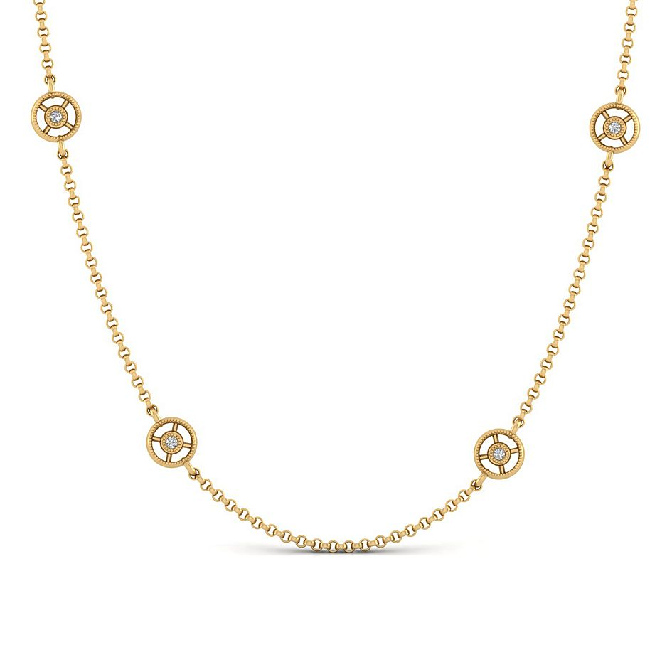 14kt Yellow Gold Diamond Station Necklace