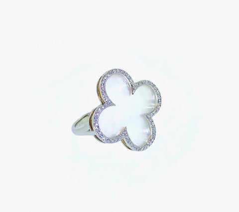 14k White Gold Mother of Pearl and Diamond Clover Ring