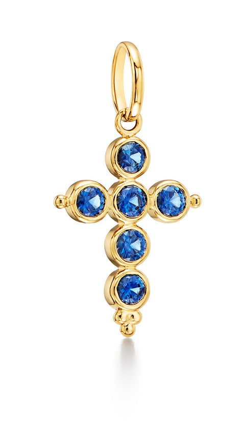 Temple St. Clair 18k Yellow Gold Sapphire Cross Pendant