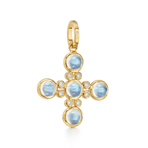 Temple St. Clair 18k Yellow Gold  Five-Stone Cross Pendant