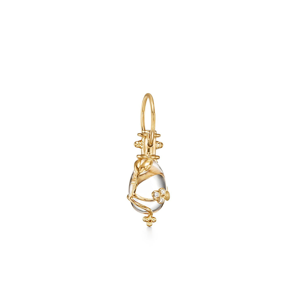 Temple St. Clair 18K Yellow Gold Vine Amulet with Rock Crystal and Diamond