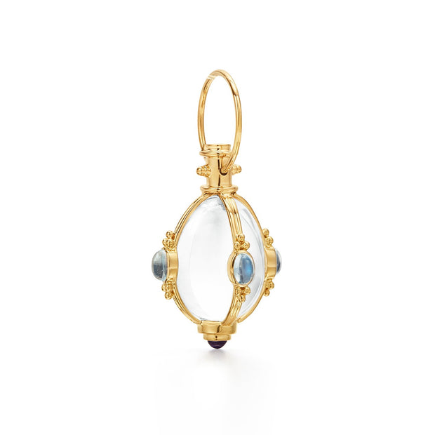 Temple St. Clair 18k Yellow Gold Royal Blue Moonstone and Tanzanite Classic Cabochon Amulet
