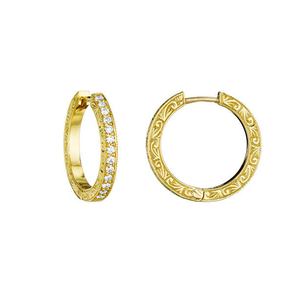 Penny Preville 18 karat Yellow Gold Diamond Hoops