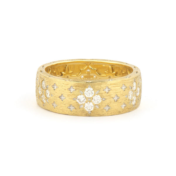 Jude Frances 18K Yellow Gold Moroccan Wide Band with Flower Diamond Pattern