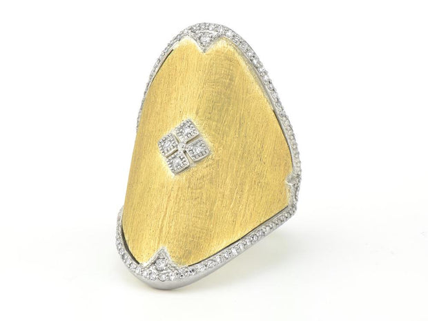 Jude Frances 18kt Yellow Gold and Sterling Silver Oval Kite Cluster Pave Ring