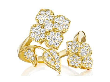 Penny Preville 18kt Yellow Gold Flower Diamond Ring