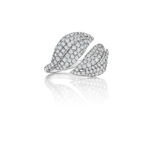 Penny Preville 18k White Gold Diamond Leaf Bypass Ring