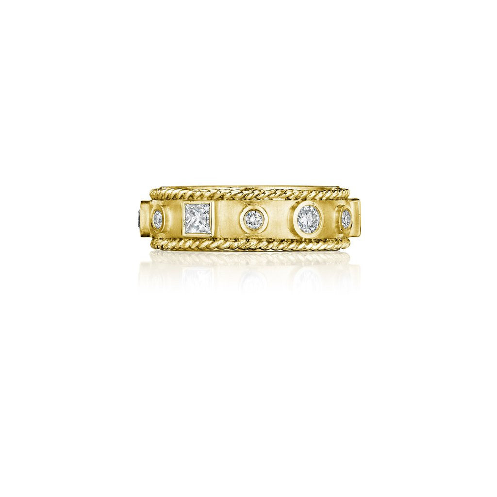 Penny Preville 18kt Yellow Gold Round & Princess-Cut Diamond Band