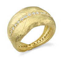Aaron Henry 18kt Yellow Gold and Diamond Olive Leaf Ring