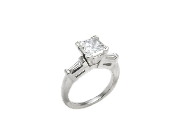 Princess Cut Diamond Ring with Half Moons