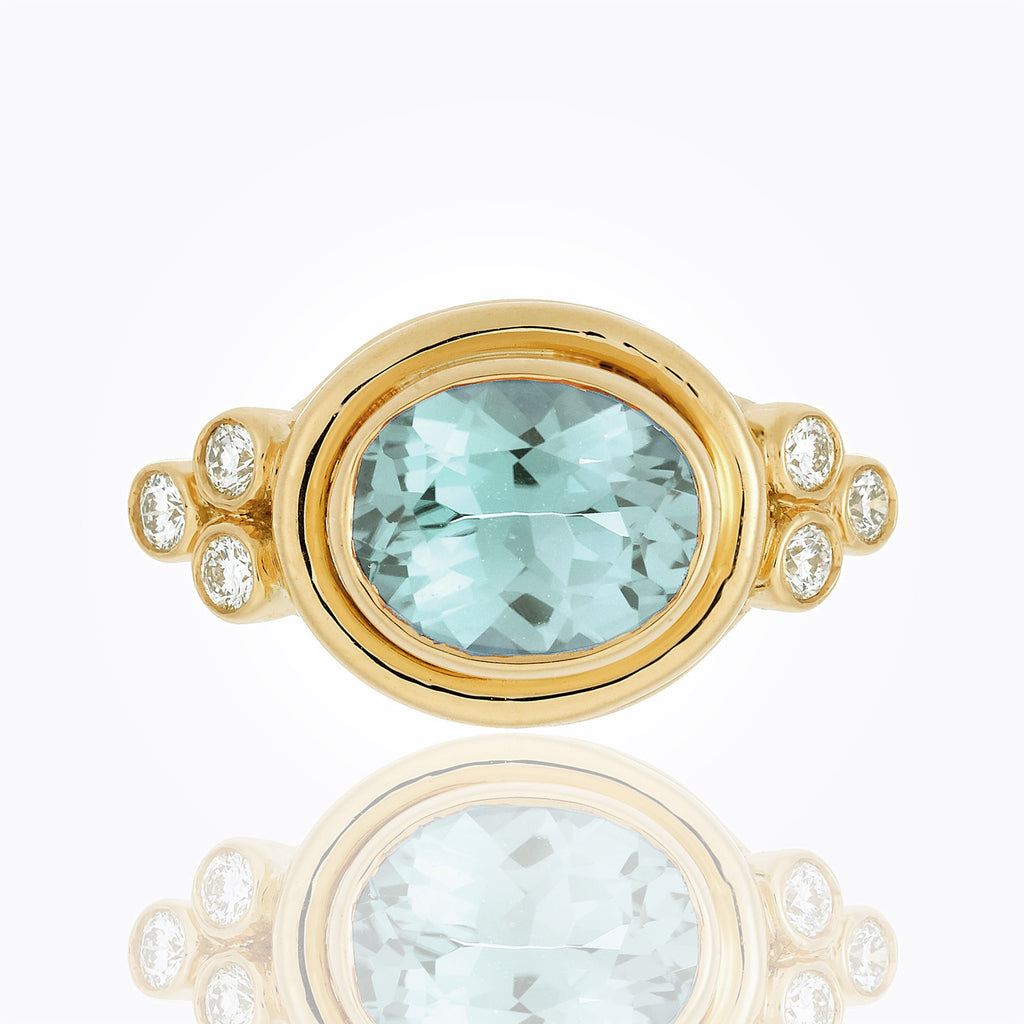 Temple St. Clair 18K Yellow Gold Classic Horizontal Oval Ring with Aquamarine and Diamond