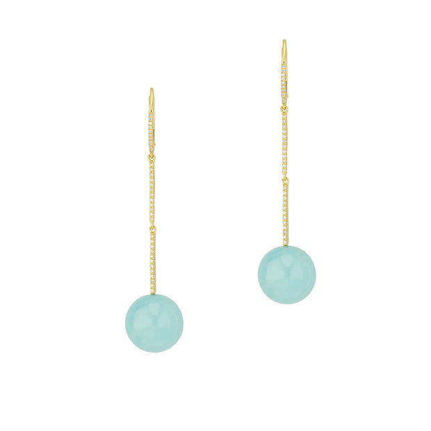 14k Yellow Gold Diamond and Aqua Drops