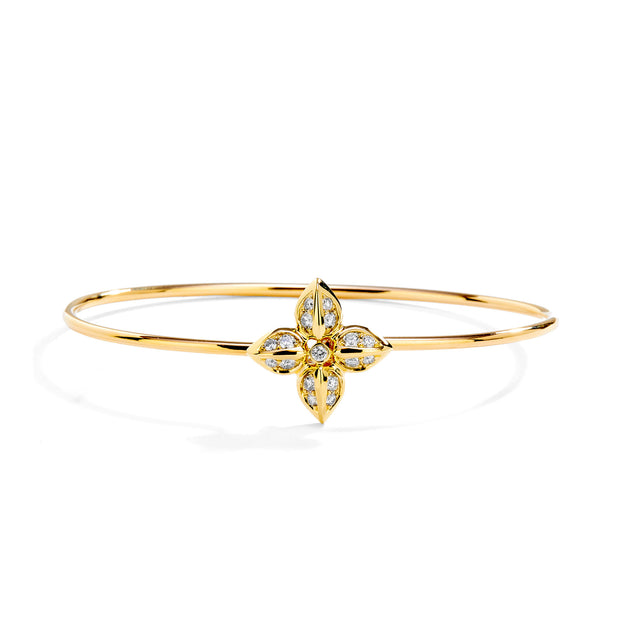 18k Yellow Gold Flower Bracelet with Diamonds
