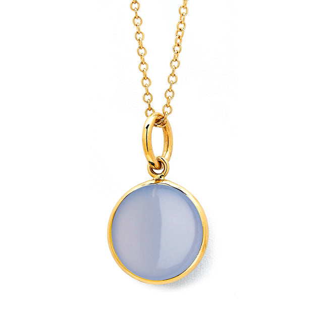 Syna 18k Yellow Gold Blue Chalcedony Pendant