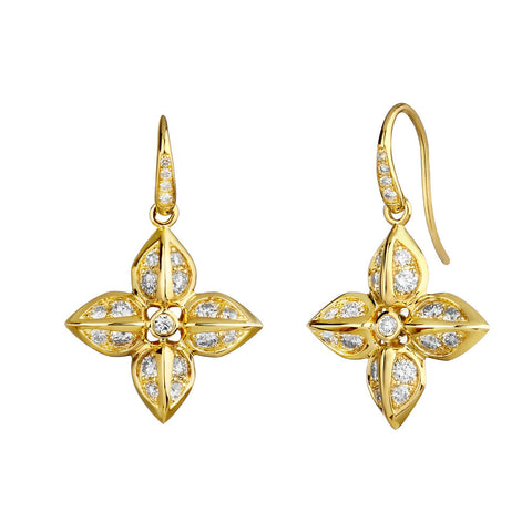 Syna 18k  Yellow Gold Flower Diamond Drops