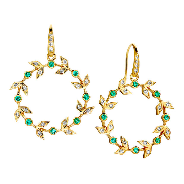 Syna 18k Yellow Gold Diamond and Emerald Drops