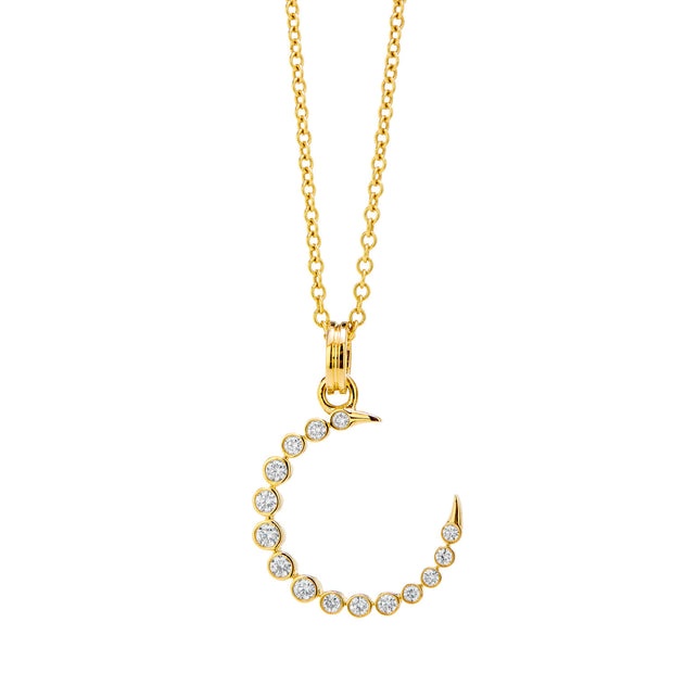 Syna 18k Yellow Gold Diamond Crescent Necklace