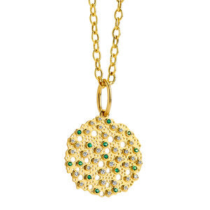 Syna 18k Yellow Gold Emerald and Diamond Pendant