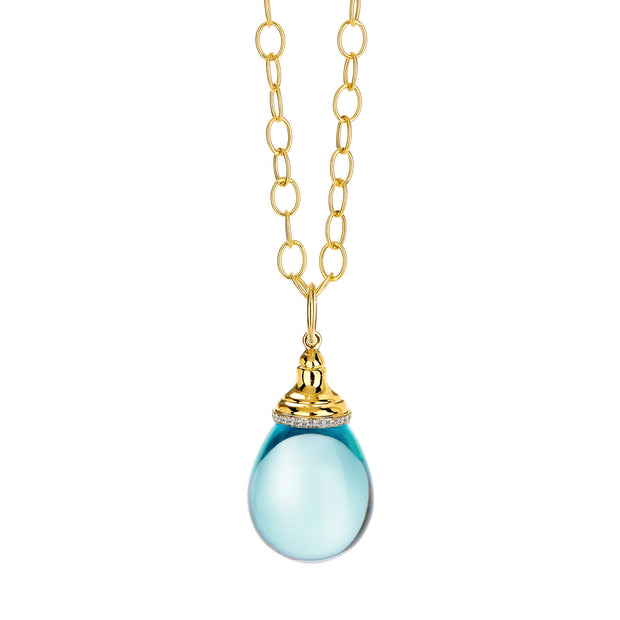 Syna 18k Yellow Gold Blue Topaz and Diamond Pendant