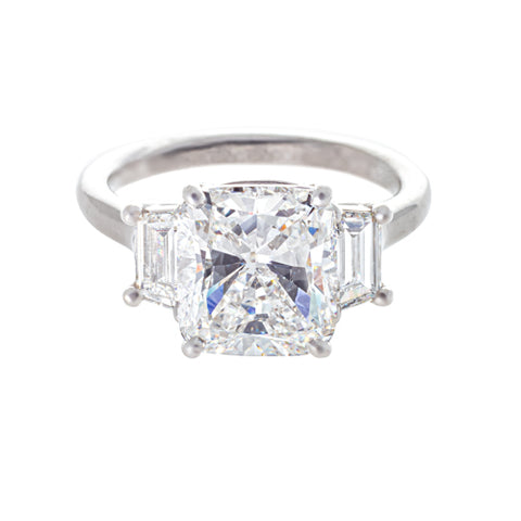 Platinum Cushion Cut Diamond Ring with Trapezoids