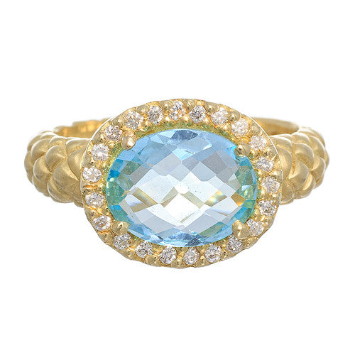 18kt Yellow Gold Ring with Blue Topaz