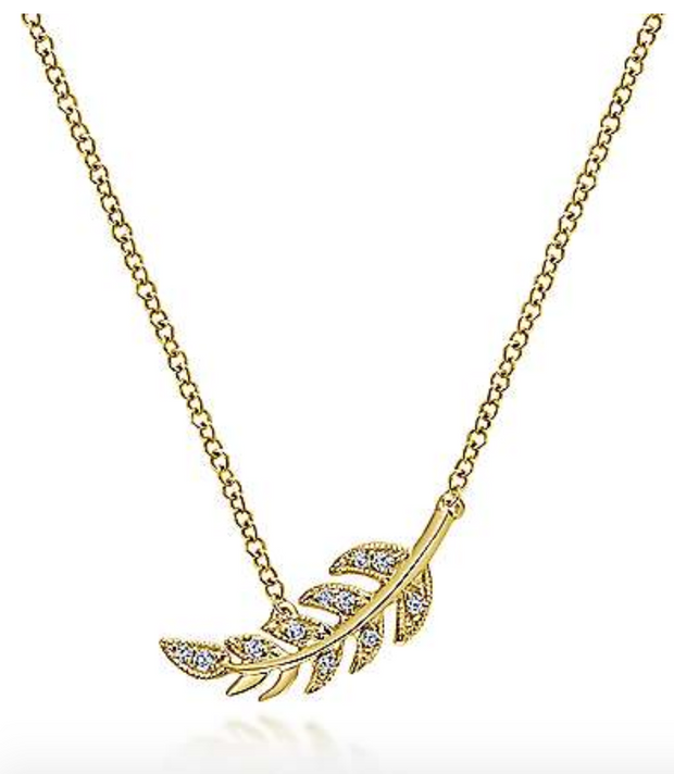 14k Yellow Gold Diamond Feather Necklace