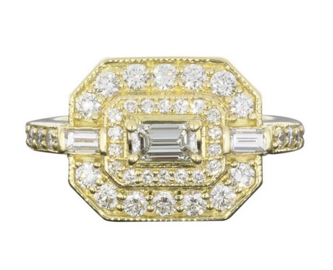 Penny Preville 18K Yellow Gold and Diamond Deco Ring