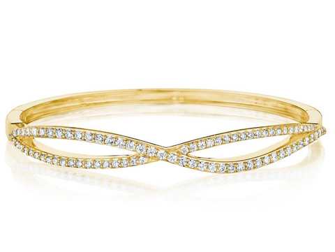 Penny Preville 18k Yellow Gold Diamond Cross Over Bangle