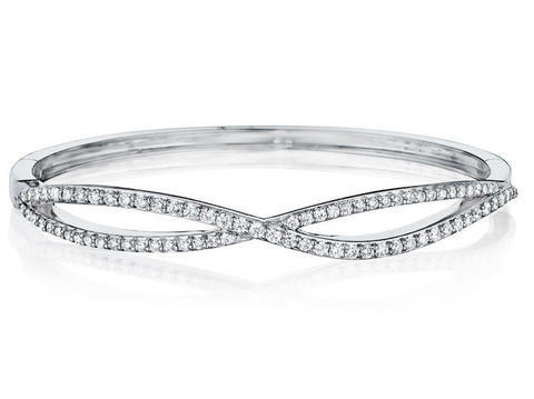 Penny Preville 18k White Gold Diamond Cross Over Bangle