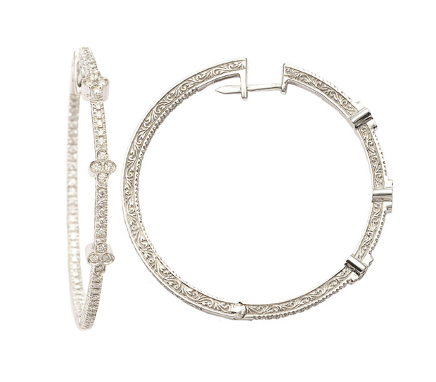 Penny Preville 18k White Gold Three Station Flower Diamond Hoops