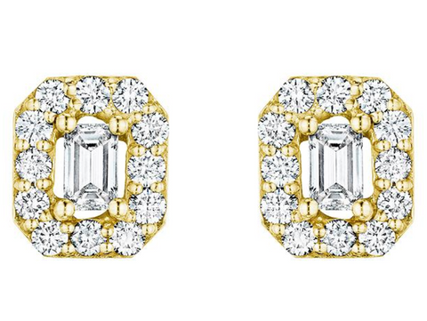 Penny Preville 18k Yellow Gold Emerald Cut Diamond Studs