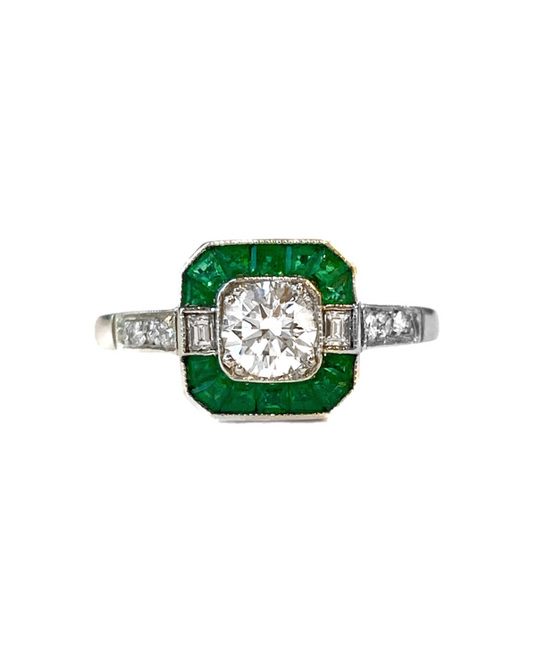 Estate Platinum Emerald and Diamond  Ring