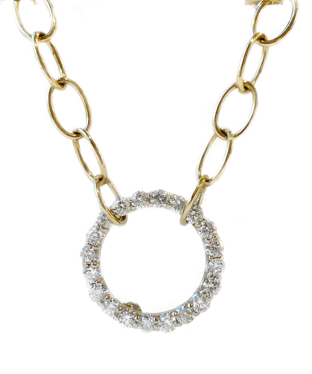 14k Yellow Gold Oval Link Diamond Necklace
