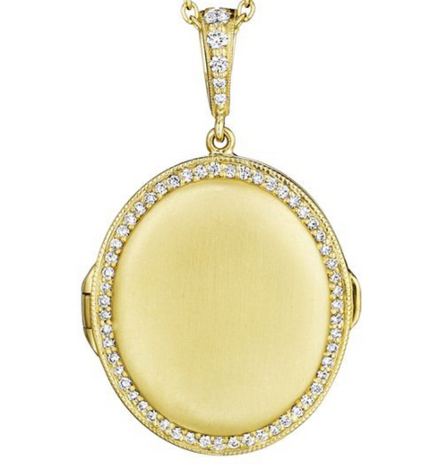 Penny Preville 18k Yellow Gold Diamond Oval Locket