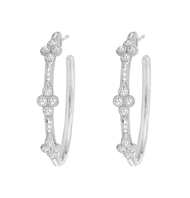 Jude Frances Sterling Silver Medium Moroccan Quad White Topaz Hoops