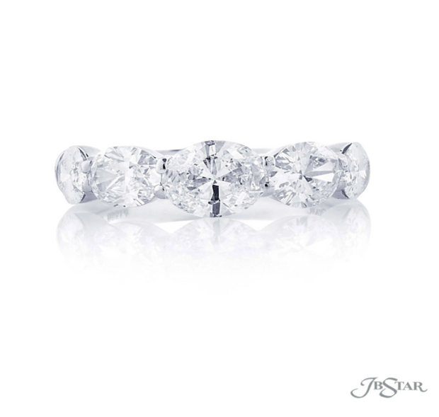 JB Star Platinum 5 Stone East West Oval Diamond Band