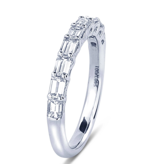 JB Star Platinum 9 Stone Emerald Cut Diamond Band