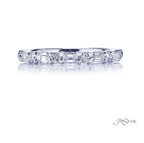JB Star Platinum Emerald Cut and Round Diamond Band