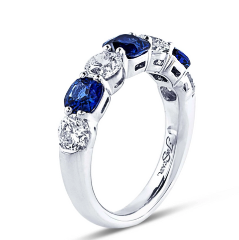 JB Star Platinum Cushion Cut Sapphire and Round Diamond Band