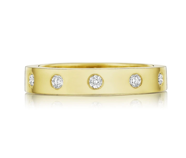 Penny Preville 18k Yellow Gold Round Station Diamond Band