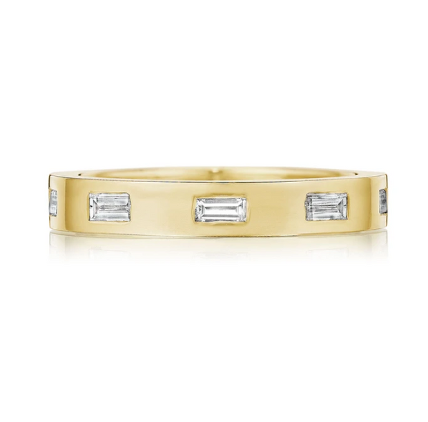 Penny Preville 18k Yellow Gold Baguette Station Diamond Band
