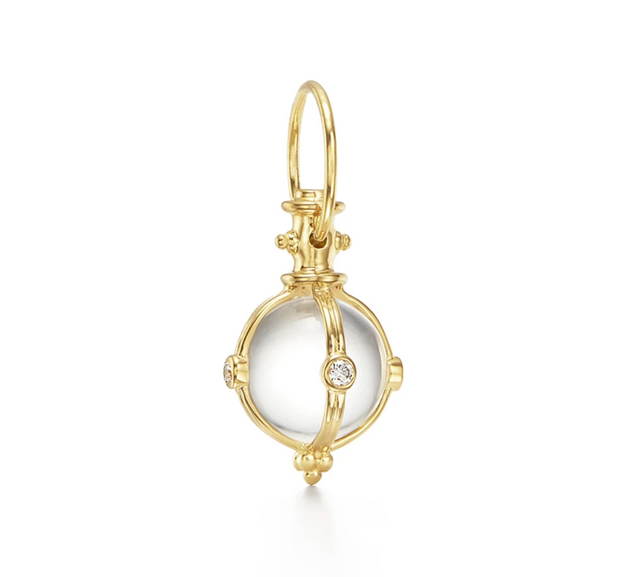 Temple St. Clair 18k Yellow Gold Rock Crystal and Diamond Classic Round Amulet